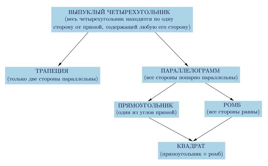 схема подчинения четырехугольника