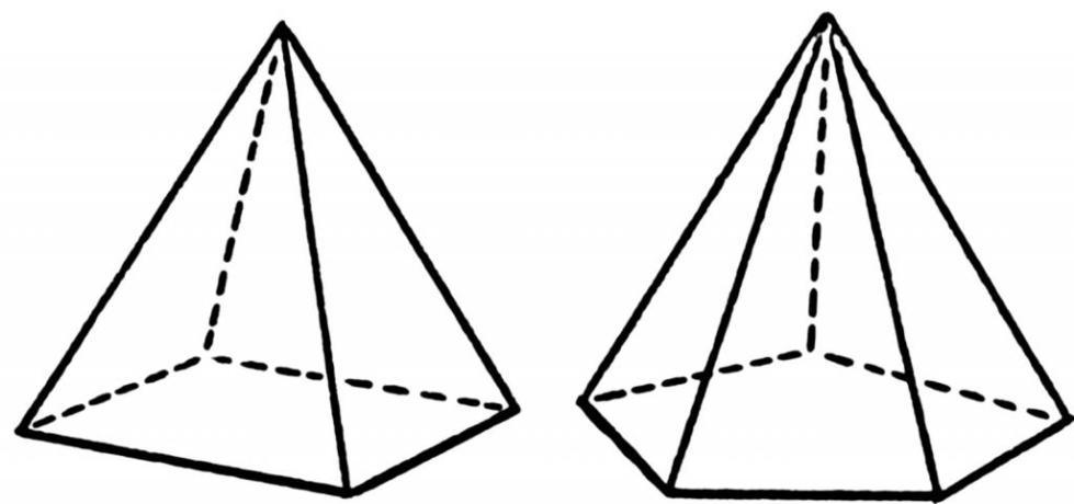 Четырехугольная и пятиугольная пирамиды