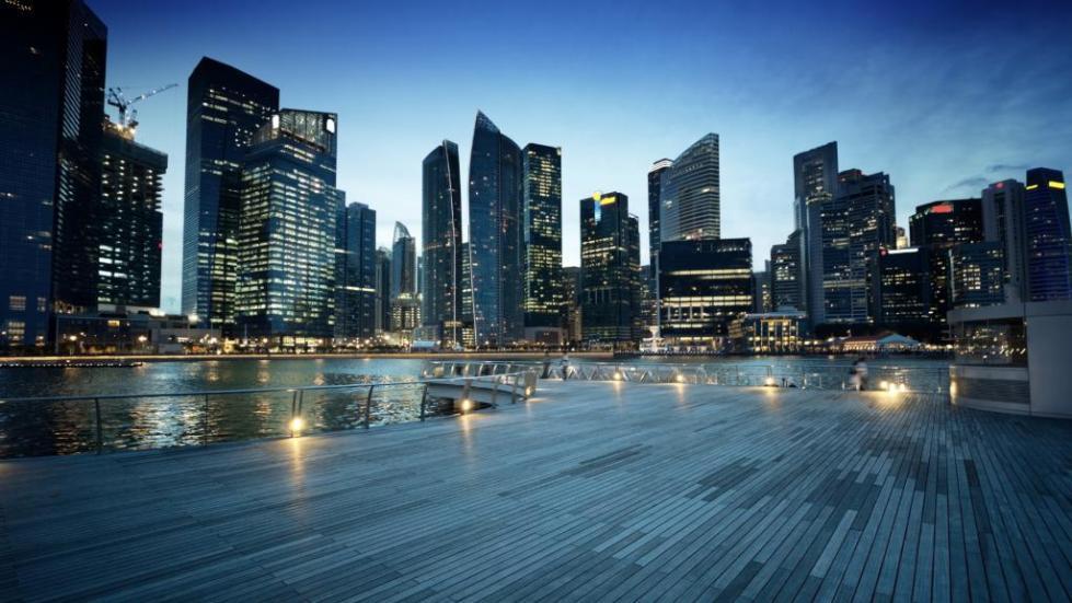 вечерний вид сингапура