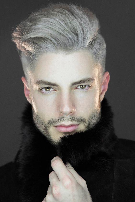 пепельный цвет волос на темные волосы мужчины