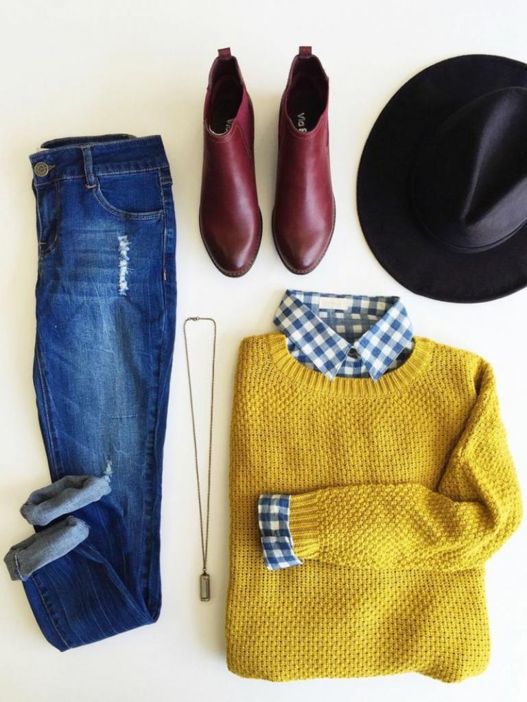 свитер с рубашкой обманкой