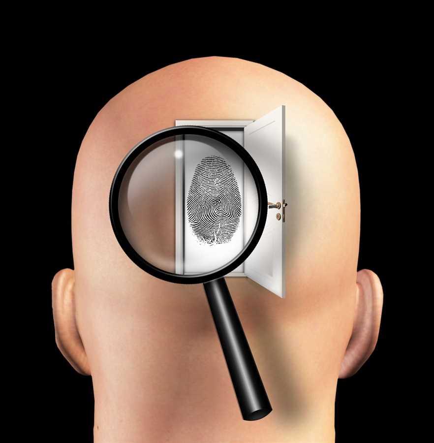 Голова, лупа, отпечаток пальца