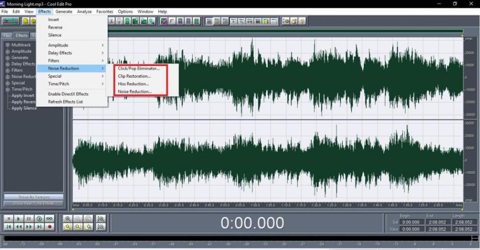 Инструменты удаления шумов в Cool Edit Pro