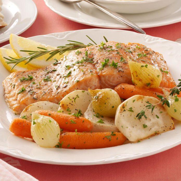 Горбуша с картофелем и овощами