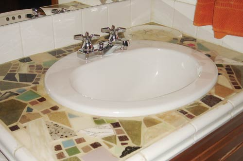 столешница в ванную под мозаику