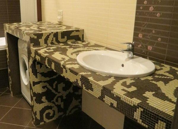 столешница в ванную комнату из мозаики