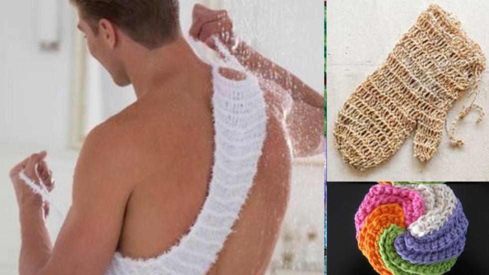 вязание мочалки спицами