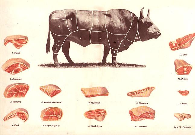 Схема разделывания говядины