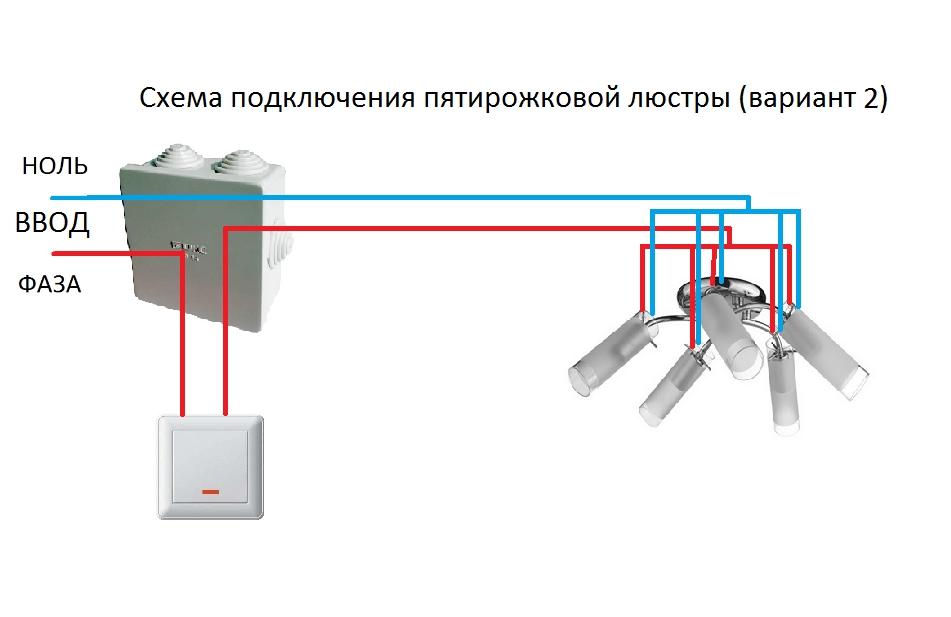Подключение к одноклавишному выключателю
