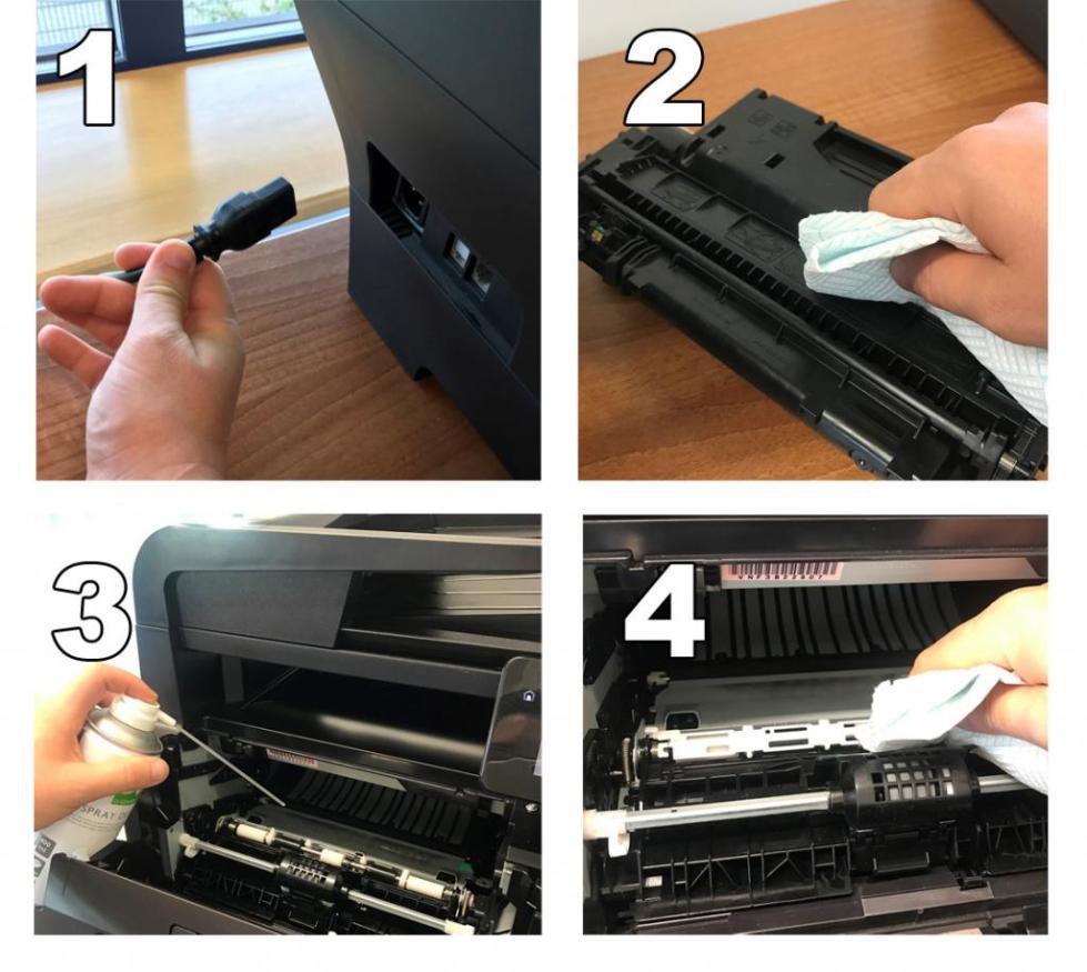 чистка картриджа лазерного принтера