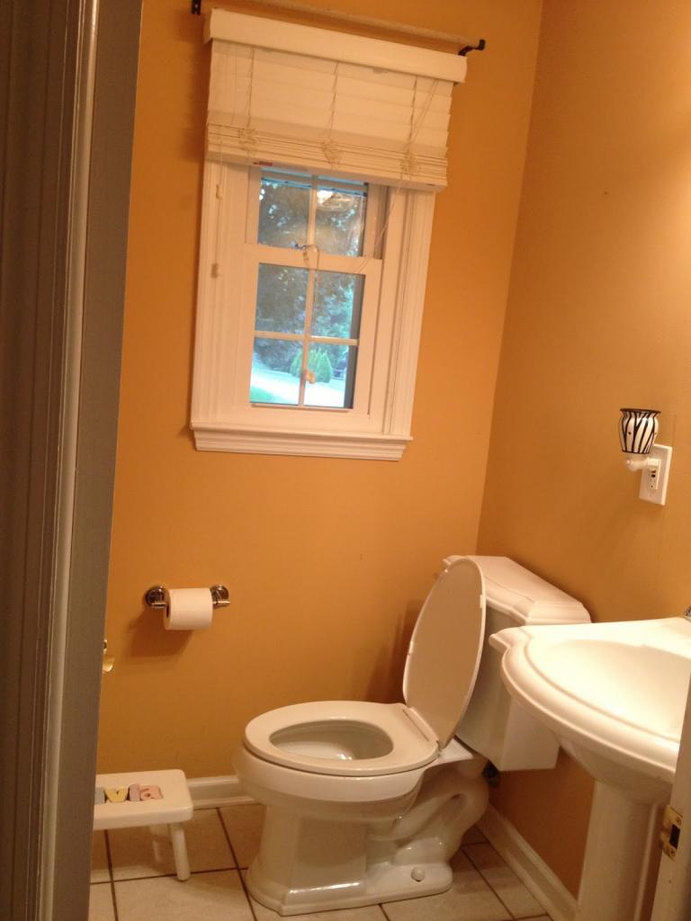 Интерьер туалета с окном