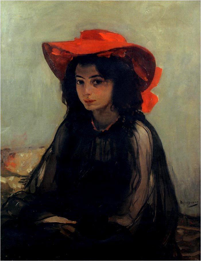 картина дама в красной шляпе