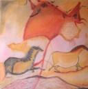 Obra realizada por KolordeCítara al pastel, basándose en fotografías de las cuevas de Lascaux