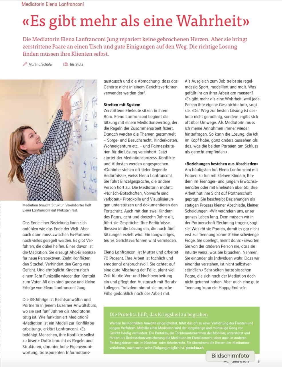 Porträt über die Mediatorin Elena Lanfranconi Jung im Kundenmagazin Mobirama, Frühling 2018