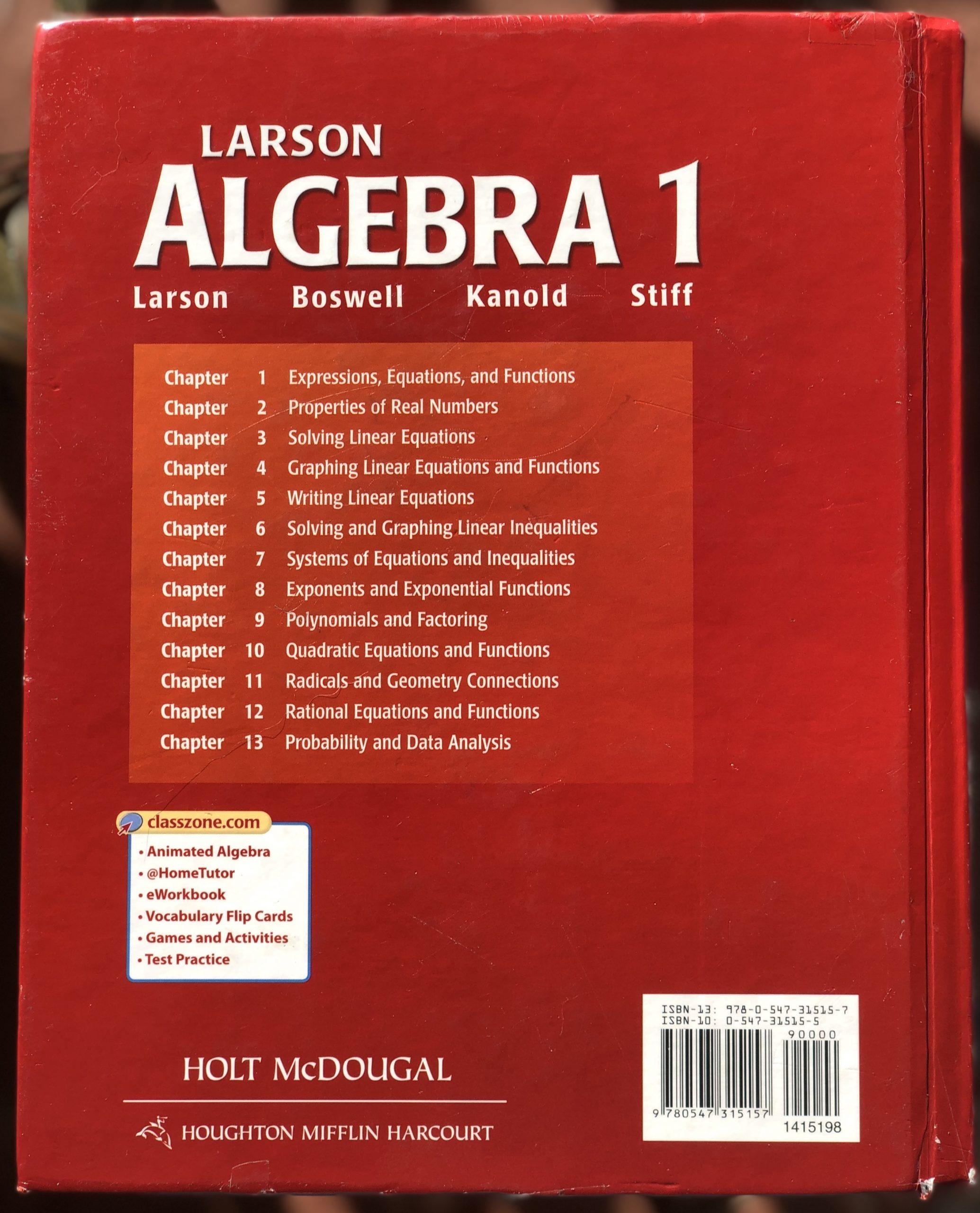 Holt Mcdougal Larson Algebra 1 Student Edition