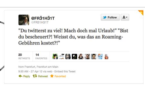 Tweet der Woche von @FR31H31T