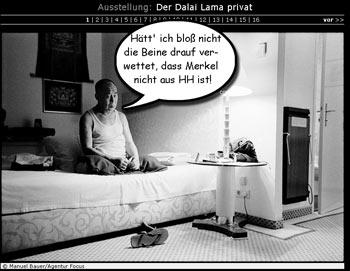 Dalei Lama - nach verlorener Wette auf Hotelbett