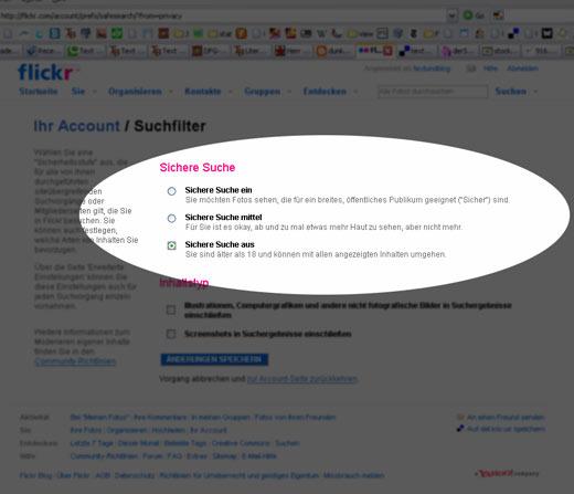 Flickr läßt deutsche Nutzer die Safe-Search-Filtereinstellung wieder ausschalten