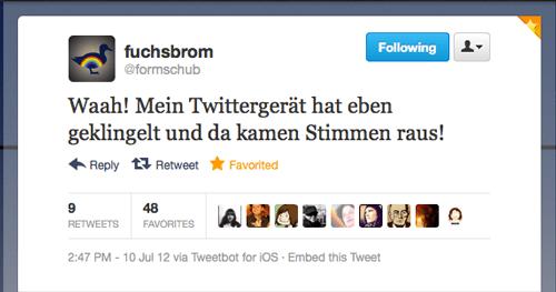 «Tweet der Woche» von @formschub