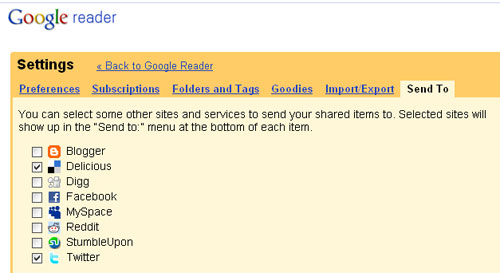 Einstellungen im Google Reader: Settings - Send to