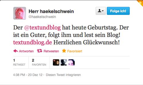 Tweet vom @haekelschwein