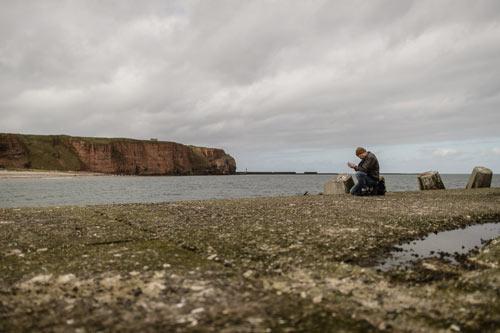 Helgoland: Hier fotografiere ich obiges Hintergrundbild