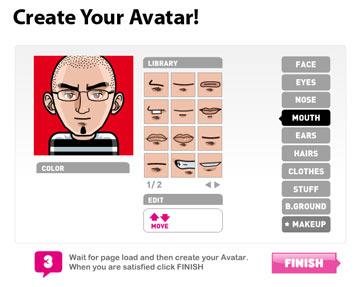 Auswahlmenü beim Avatar-Erzeugen