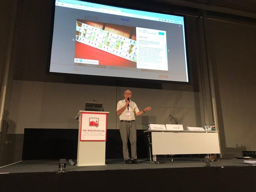 Panel Nutzerpartizipation, Bibliothekartag Frankfurt 2017. Foto: Rudolf Mumenthaler