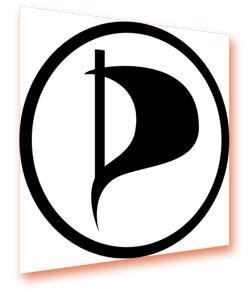(von mir schräg gestelltes) Logo der Piratenpartei