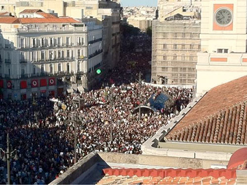 Demonstration DemocraciaRealYA am 15.05.2011 an der Puerta del Sol in Madrid