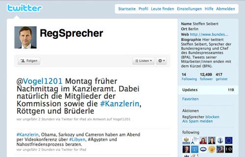 Twitteraccount des Regierungssprechers Steffen Seibert: @RegSprecher