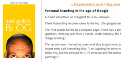 Seth Godins Blog: Personal Branding in the age of Google