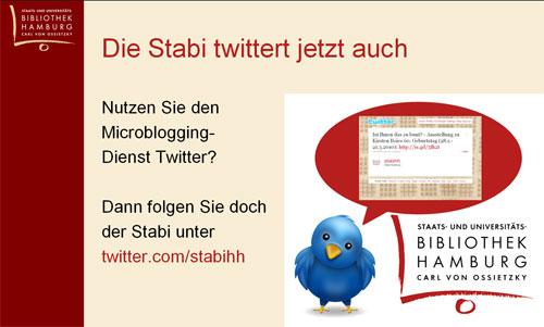 Infoscreen-Folie 'Die Stabi twittert'