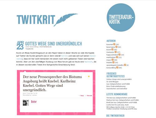 Twitkrit - hier werden Tweets rezensiert