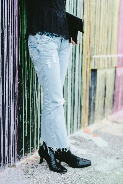 robert stuartzman booties, distressed enim light wash jeans, cropped flares, diy cropped flare jeans, biscuit wall, houston