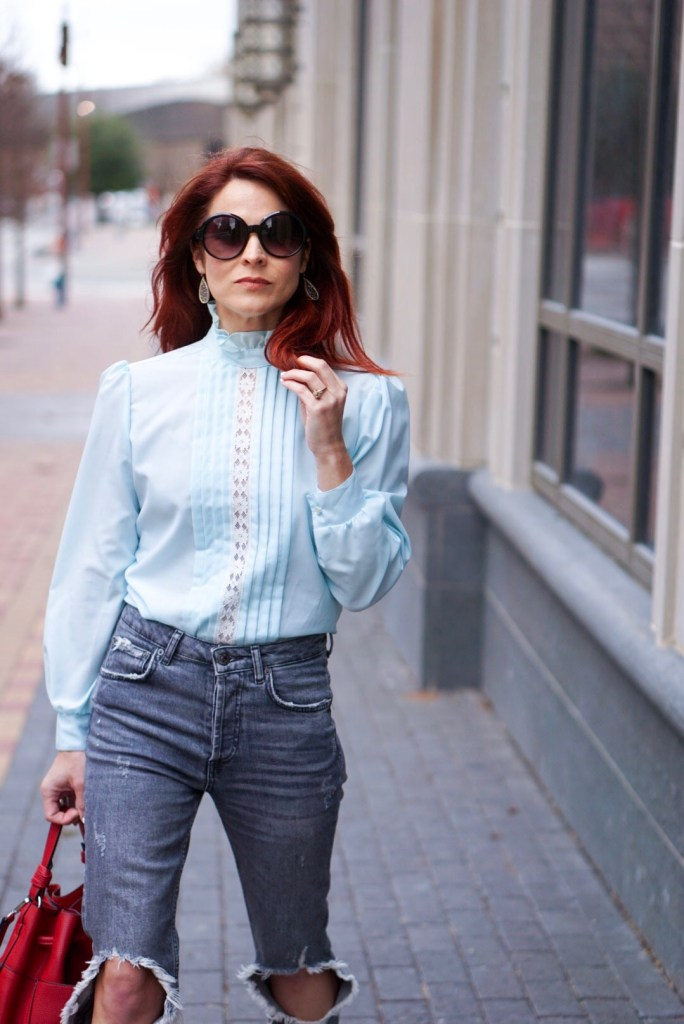 LACE TOP, ZARA JEANS, RED HAIR, VINTAGE