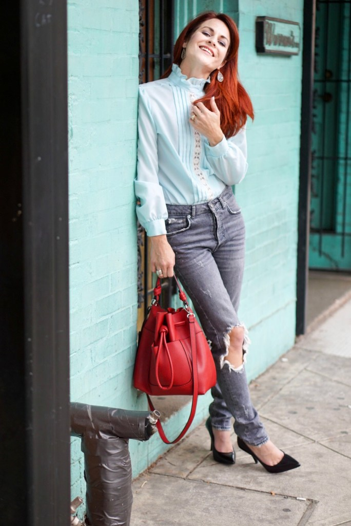 BLUE BLOUSE, HGH WAISTED JEANS, DISTRESSED DENIM, RED BAG
