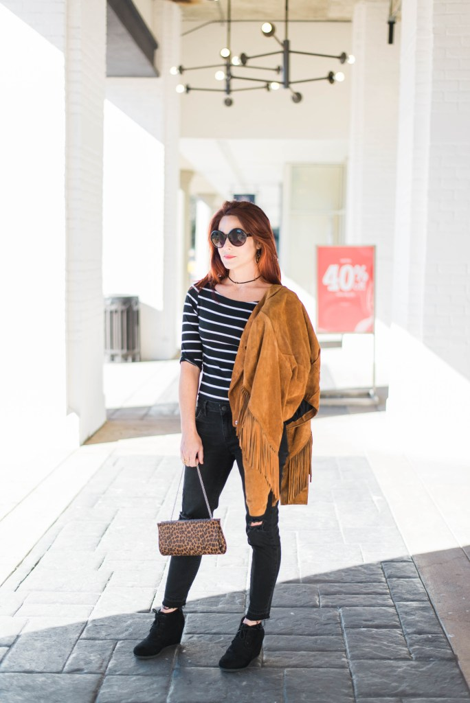 stripes, black denim, fringe jacket