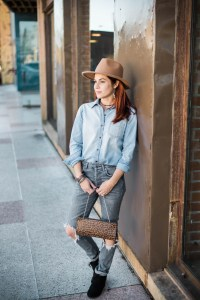 rice village, denim on denim, wedge booties, hat, chambray