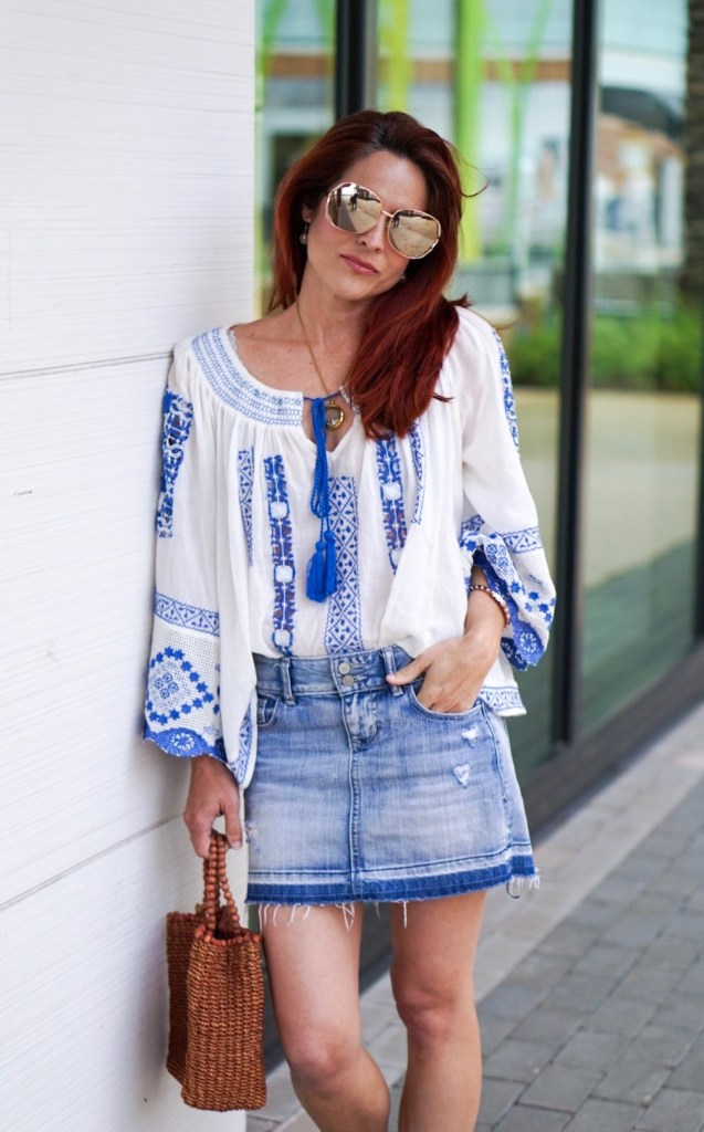 peasant top, blue and white embroidery, mirror sunnies