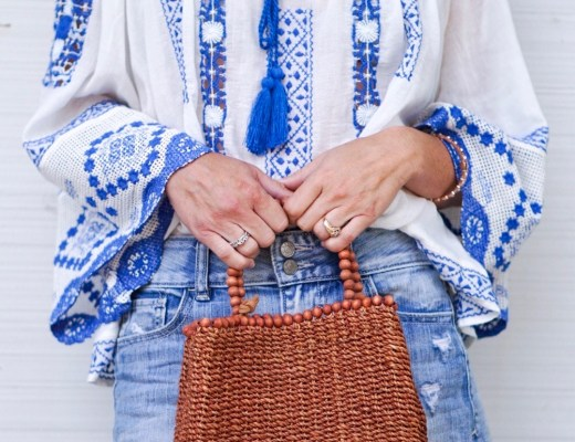 blue and white top, embroidered top, denim skirt, mini skirt, basket weave bag