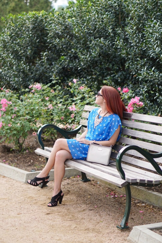 PARK BENCH, GARDENS, BIRD WATCHING, BLUE DRESS, BLACK SANDALS