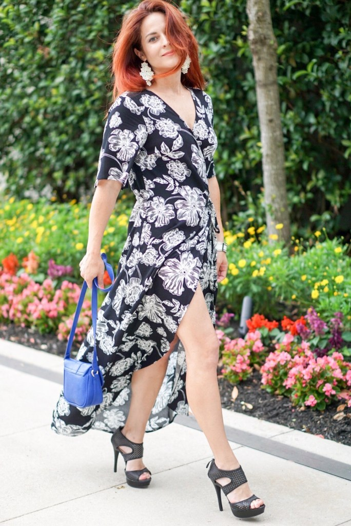 wrap dress, who what wear, blue bag, caged heel, flowers