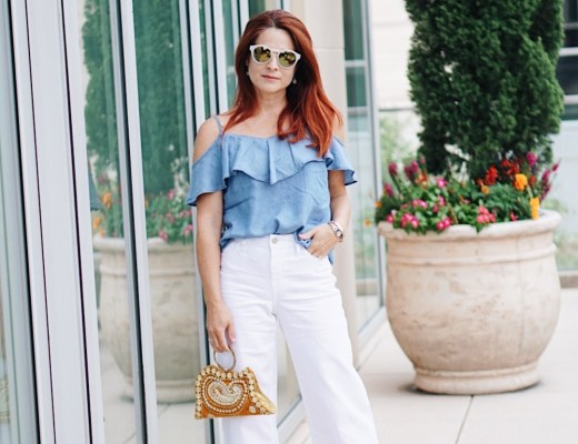 off the shoulder, chambray, yellow bag, retro sunnies, tweed heels