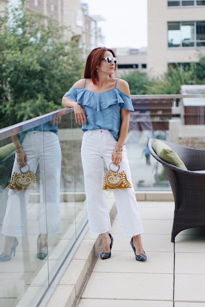 chambray, ots, bag with jewels, summer top ideas,