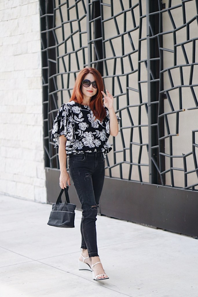 who what wear, floral blouse, casual chic outfit, floral blouse, target style, white wedge sandals, red hair inspiration,
