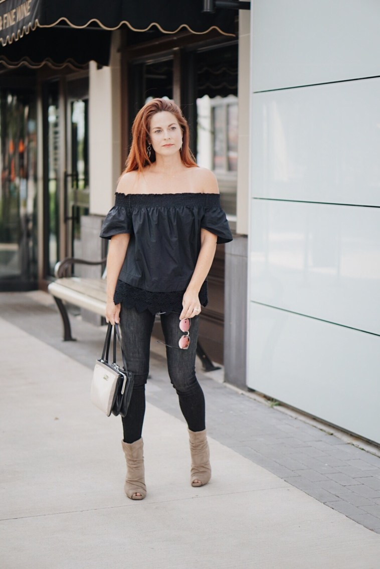 date night outfit, casual chic inspiration, red hair, taupe booties, off the shoulder