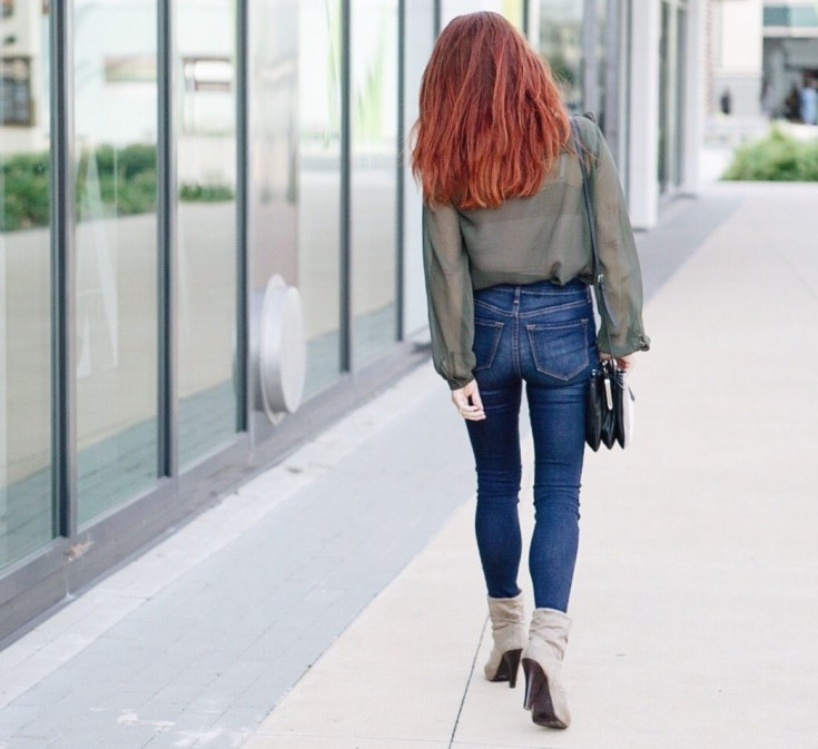 the perfect skinny jeans, sheer blouse, olive green, slouched booties, #booties