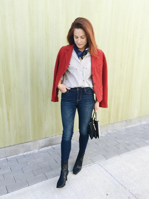 casual style, business casual, red blazers, high waisted jeans, dark wash, black boots, silk scarves