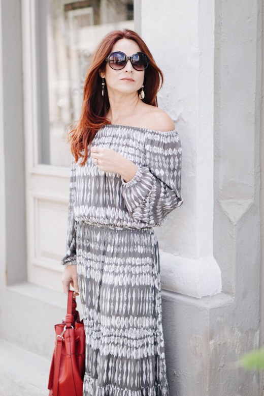 off the shoulder, bohemian styled dress, red hair, evereve, black round sunglasses